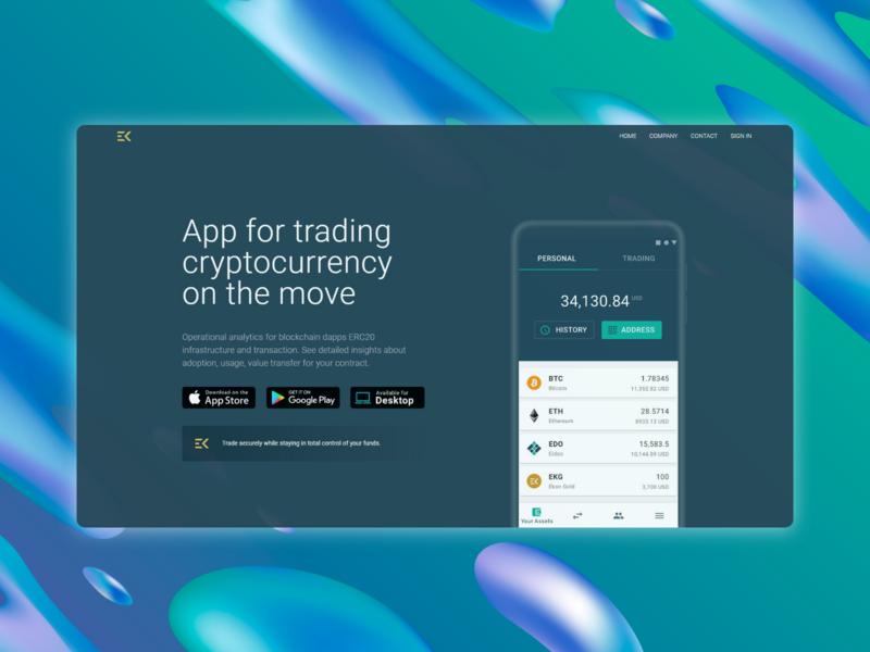 Trading app landing page website web developer front end flat vector web landing page ui web  design