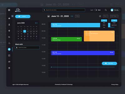 Calendar Design dark mode branding calendar dark theme minimal web user experience design ui