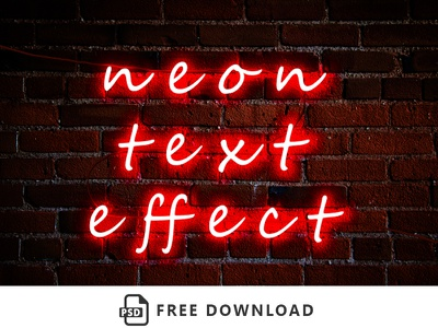 Realistic Neon Text Effect freebies psd free free download neon text effect
