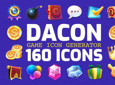 DACON – Game Icon Generator game creative icons pack game icon icons vector design illustration