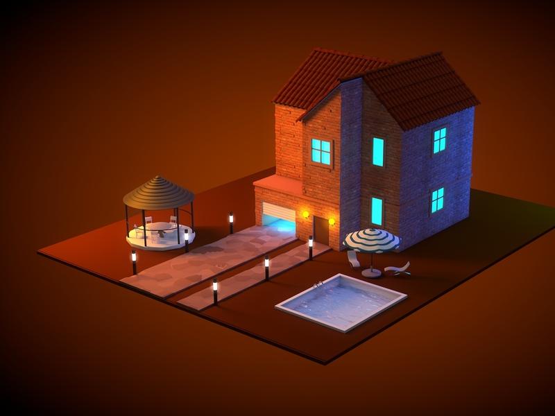 Village home sweet pool house home design art graphic cinema4d illustration 3d design 3d artist 3d art