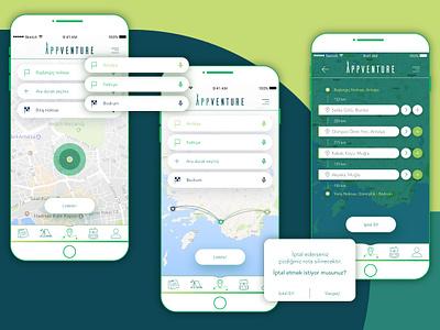 Appventure mobile adventure trip vacation travel app design ui ux
