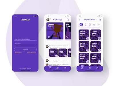 Cardlingo - Language Learning mobile design ui ux words educational language learning education