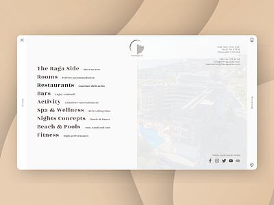 Hotel Website, Raga II menu branding logo website vacation travel hotel ux ui design