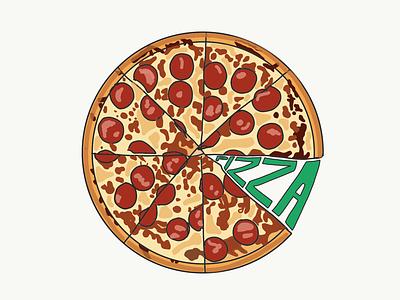 Pizza Time eat american italian illustration foodie food slices pizza