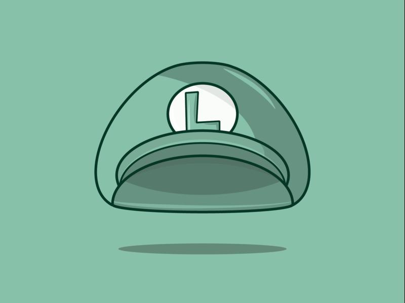 Luigi's Hat green nintendo mario brothers mariobros mario luigi graphic design vector illustration design adobe illustrator