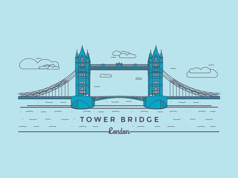 A classic staple of the London skyline. london bridge london skyline london tower bridge graphic design vector illustration design adobe illustrator