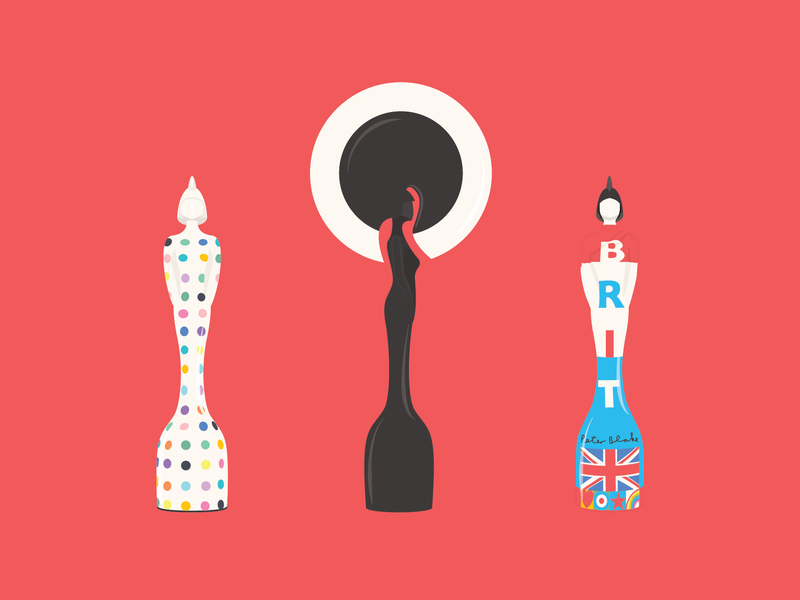 Brit Awards black white blue red awards brits brit awards adobe illustrator cc graphic design vector design illustration adobe illustrator