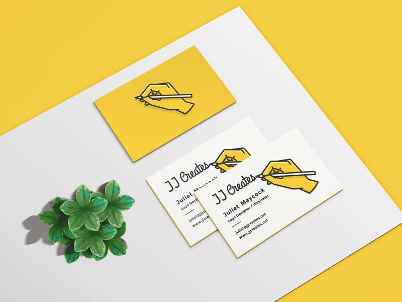 JJ Creates Business Cards business card yellow typography logomark wordmark logo branding lettering logotype brand and identity logo adobe illustrator cc graphic design vector design illustration adobe illustrator