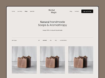 Herbal Magic Online Handmade Shop natural cosmetics soap minimal website ux ui