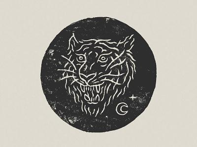 Tiger Sigil mysticism occult tattoo print printmaking blockprint tiger illustration linocut