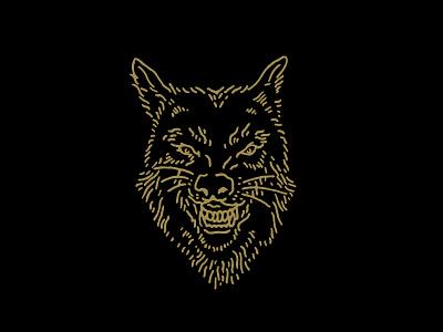 Wolf gold illustration wolf