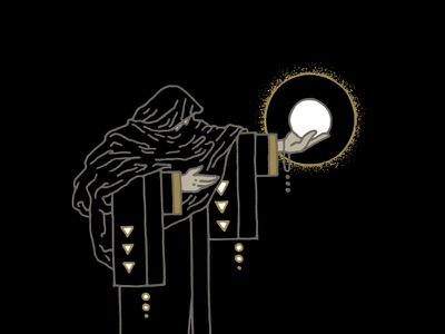 The Seer priest man occult magic mystic illustration