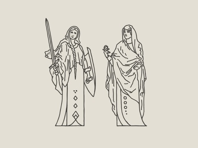 Maidens rose shield sword maiden figure females illustration