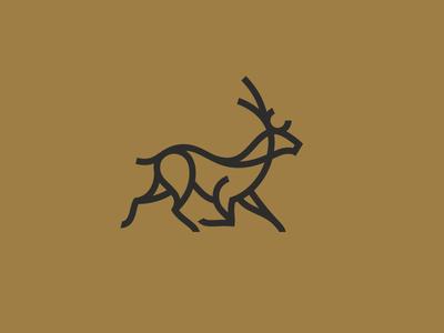 Fallow Deer antlers stroke branding identity deer logo