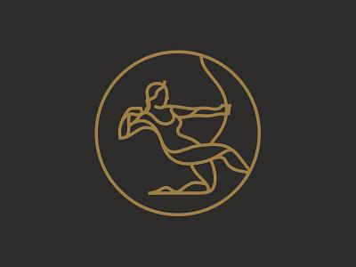 Artemis icon illustration logo archer arrow bow woman greek artemis