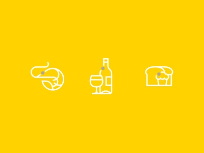 Qbit Icons bread beer wine bottle glass drink beverage shrimp icons iconography