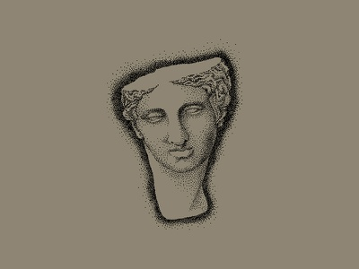 Broken Bust stipple pointillism illustration statue greek roman