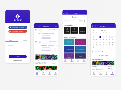 Swappr - Mobile App Design events calendar login meetup ui design ux design app app designer app design mobile design ui mobile design ux  ui ux