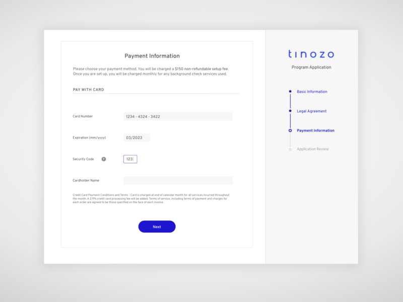 Payment Form with Vertical Progress Bar form field input fields ux designer progress bars web application online form forms form page payment page payment ui design vertical form form progress bar progress indicator ux design form design