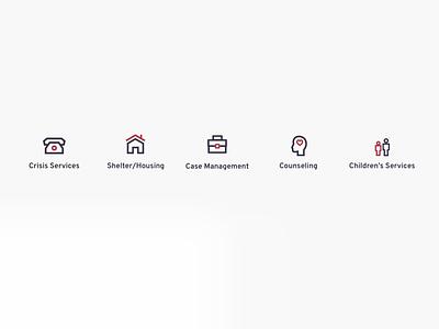 Nonprofit Services Icon Set icon set illustration design ui graphic design iconography graphic flat design minimalist services nonprofit what we do ui design icons iconography
