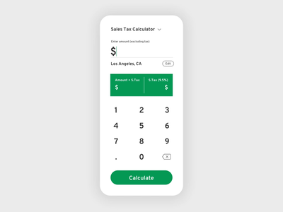 DailyUI #004 : Sales Tax Calculator App