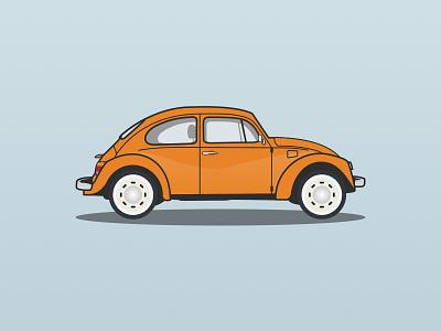 Volkswagen Beetle beetle volkswagen car sketch shapes vectors lines flat illustration
