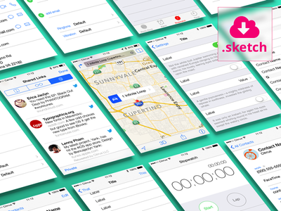 Free Fully Editable GUI Content Views for iOS 7 download free app template sketch ios ios7 iphone interface ui ux