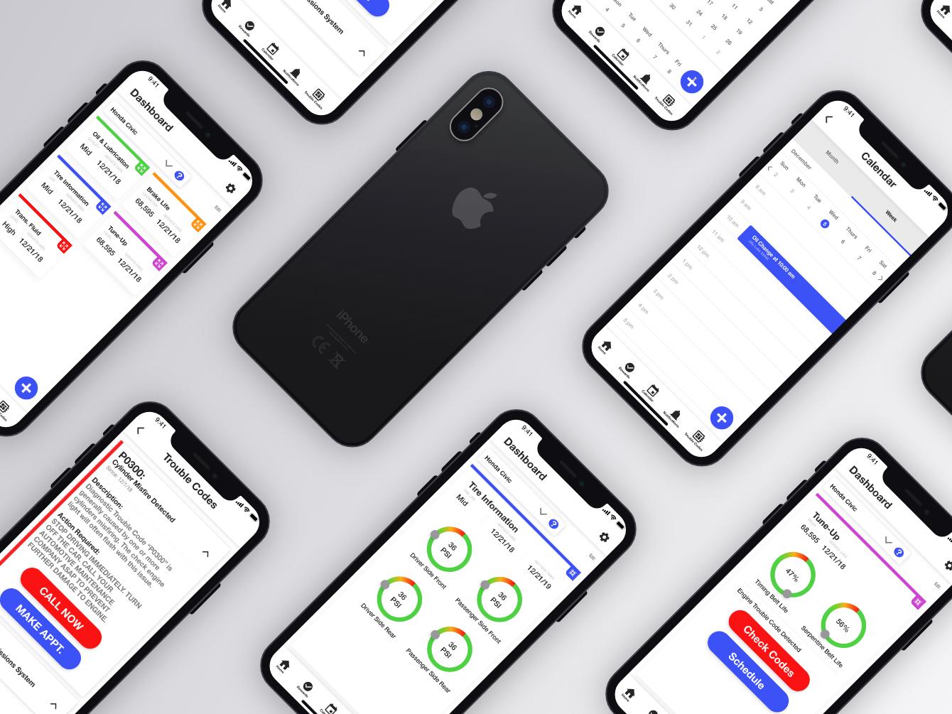 """""""Push"""" Auto Maintenance iPhone XS App Design prototype adobe xd uxdesign uidesign app ui ux ui  ux design"""