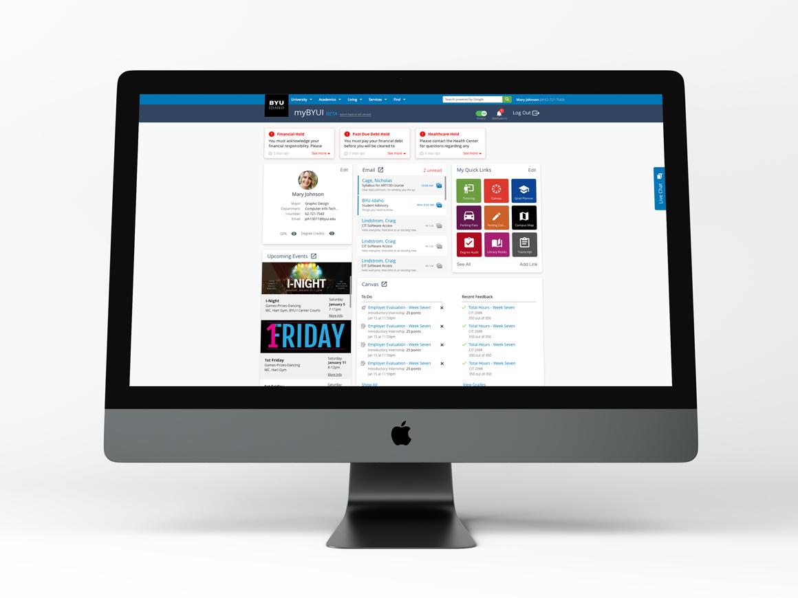 Desktop myBYUI Portal iMac Pro Mockup & Prototype product productdesign design ux ui  ux design website web uxdesign prototype adobe xd uidesign ui