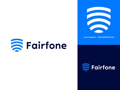 Fairfone fingerprint signal mobile clever clean illustrator identity lettering minimal website flat icon branding typography vector logo design