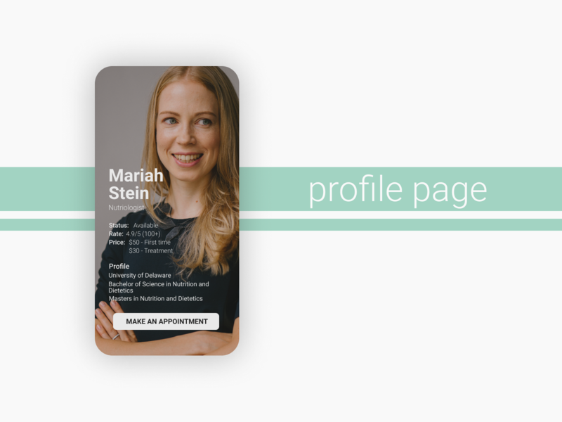 Profile Page dailyui app design ui design