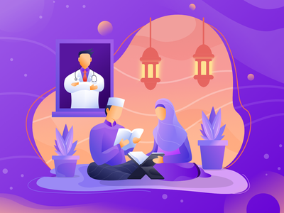 Ramadan Stay At Home website app flat minimal vector design full color stay home ux ui colorful character illustration ramadan kareem