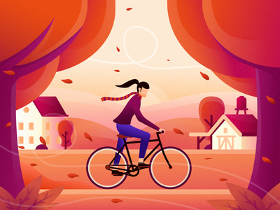 A windy autumn bicycling cycling wind autumn app web ui illustrator flat vector illustration design