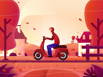 A Windy Autumn 2 landscape app motorcyle web wind autum website design minimal flat illustrator vector illustration
