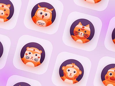 Animal Mascot Icon mascot cat otter pig owl monkey duck zoo character minimal visual animal logo identity icon vector design illustration