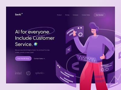 SerAI Landing Page Exploration customer service service customer gradient minimal landing page website flat vector design illustration