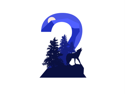 Wolf In the night website minimal logo identity typography branding vector illustration icon flat design