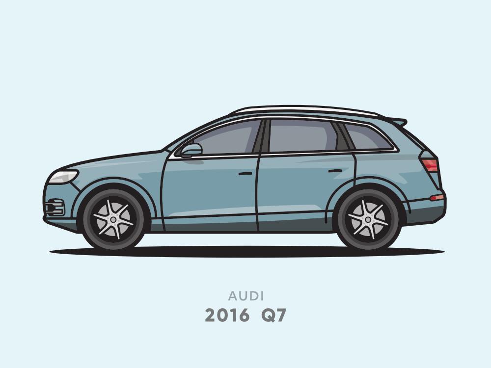 Audi Q7 2016 Flat Line Illsutration minimal flat line suv car illustrator vector illustration icon flat design