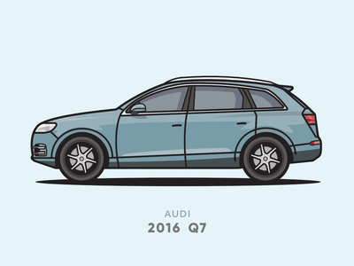 Audi Q7 2016 Flat Line Illsutration minimal flat line suv car illustrator vector illustration icon flat design