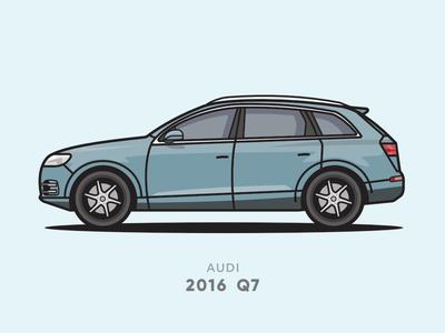 Audi Q7 2016 Flat Line Illsutration