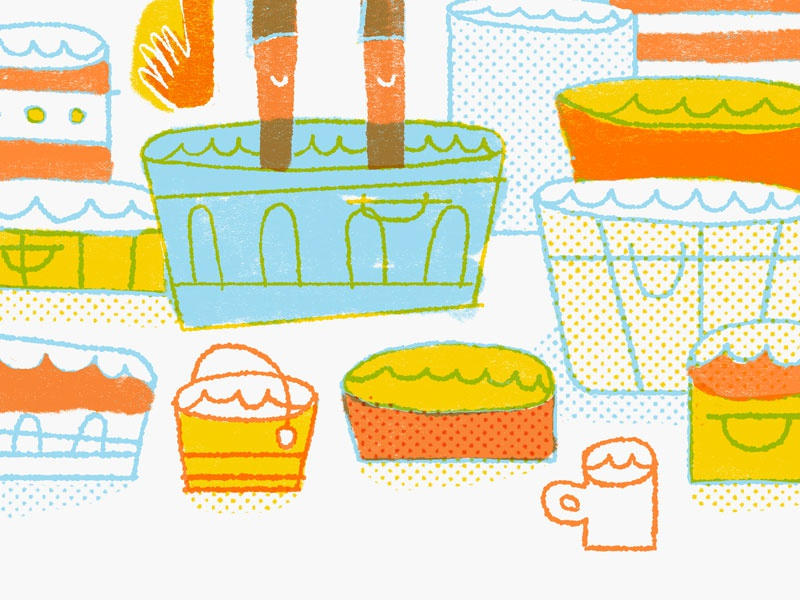 Buckets illustration drawing