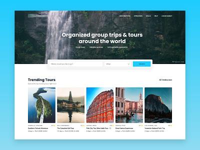 Tours & Travels - Homepage tour travel tourism design booking layout website web design clean ui  ux ui design landing page