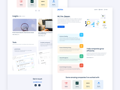jslytics | Portfolio landing page personal brand analytics marketing portfolio layout clean website web design ui  ux ui design landing page