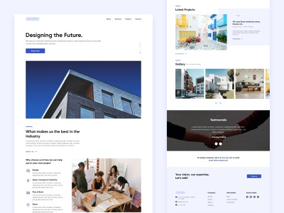 Architectural & construction company | Homepage modern residential builders construction company architecture layout clean website web design landing page ui  ux ui design