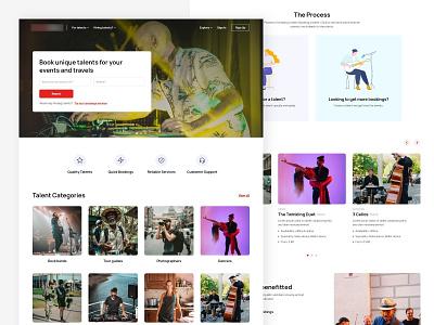 Talent Marketplace | Homepage booking online marketplace talents layout clean website web design landing page ui  ux ui design