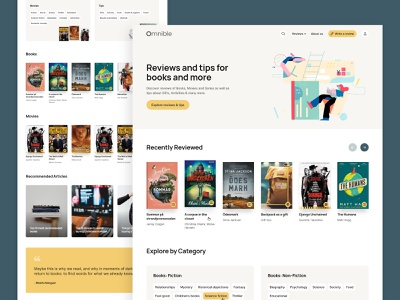 Books, movies & gift reviews | homepage reviews movie-reviews movies gifts book-reviews books concept layout clean website web design landing page ui  ux ui design