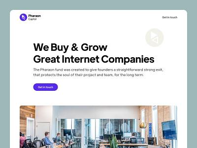 Pharaon capital landing page capital internet companies acquisition layout clean website web design landing page ui  ux ui design