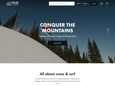 Snow & surf ecomm   homepage gears surfing ski snowboard ecommerce concept design landing page clean layout website web design ui  ux ui design