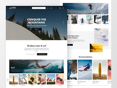Snow & surf ecomm | homepage gears surfing ski snowboard ecommerce concept design landing page clean layout website web design ui  ux ui design